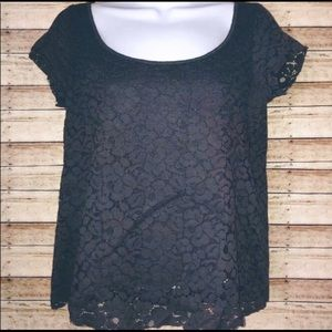 American Eagle Floral Gray Lace Short Sleeve Top S